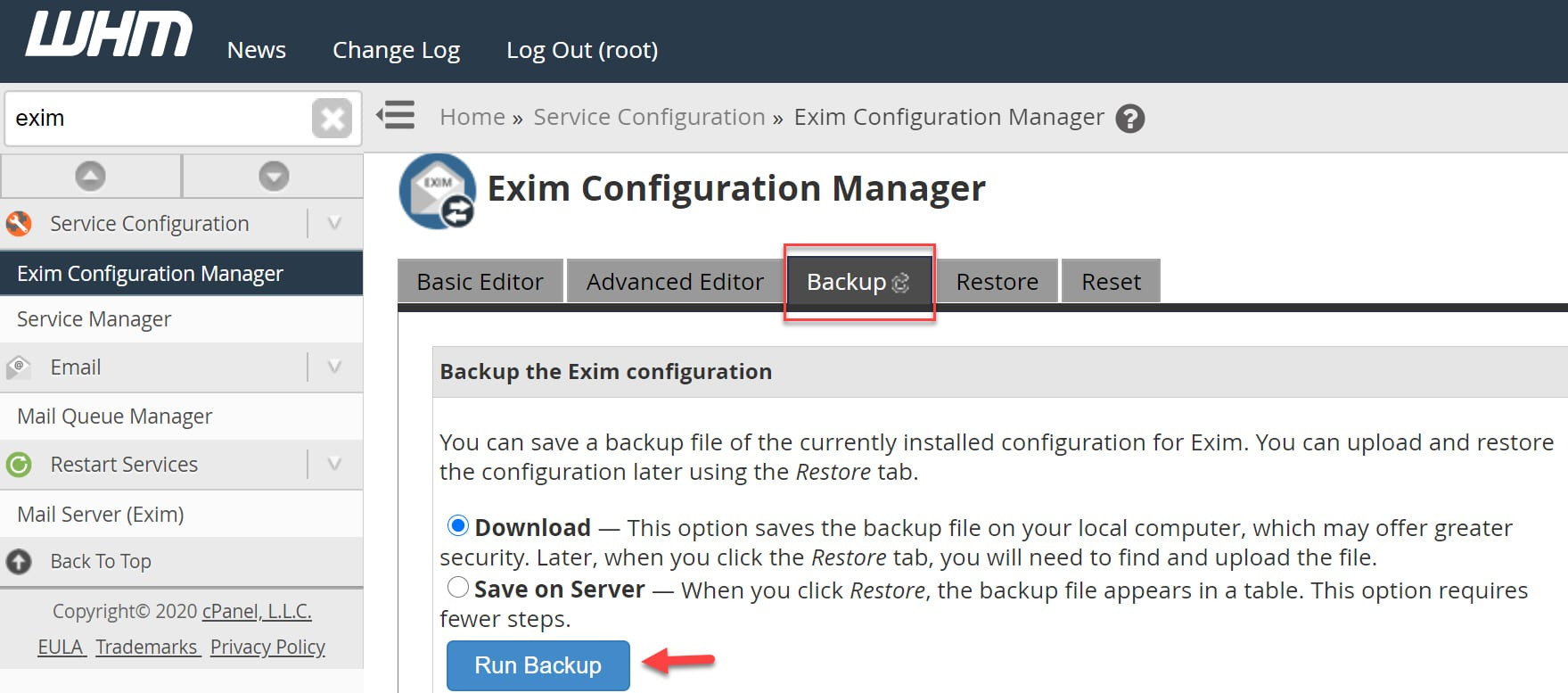 Backup the Exim configuration WHM/Cpanel